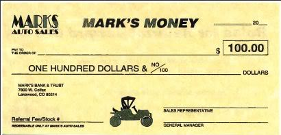 Marks Auto Sales Referral Check